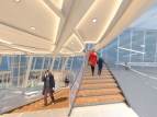 Hyperlapse: Staircase connecting different levels of the Airport Lounge. The design consists of Gloss finished wooden treads and glazed risers.