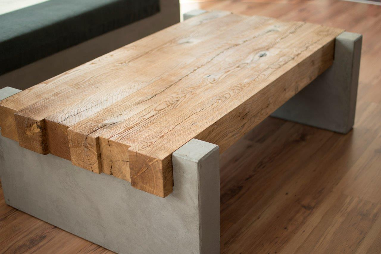 massTisch15 Couchtisch Holz Beton minTisch