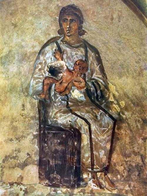 Maria met kind. Priscilla-catacomben, Rome, derde eeuw n.Chr.