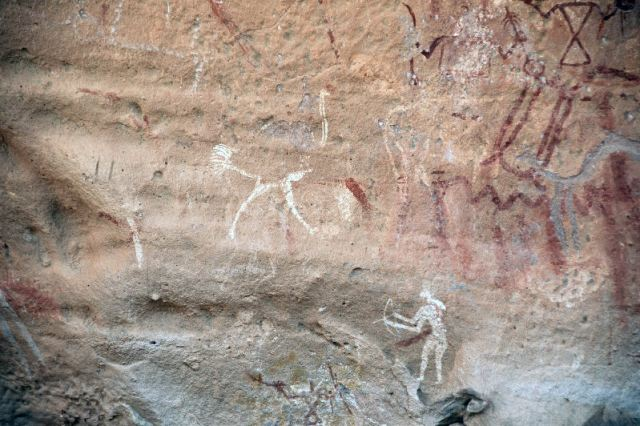 Struisvogel en boogschutter (Wadi Imla)