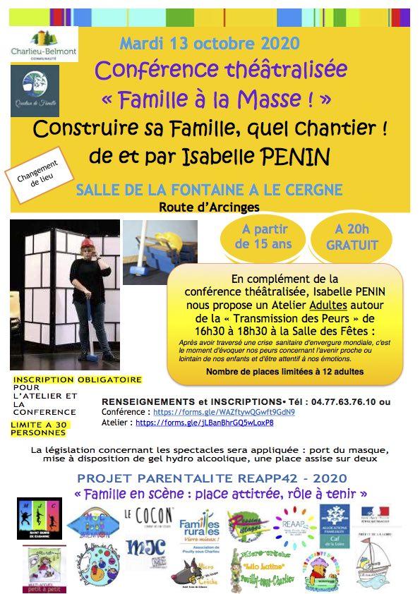 """Conférence théatre """"Famille à la masse"""""""