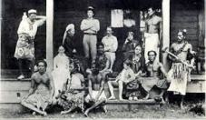 the household gathered on the verandah