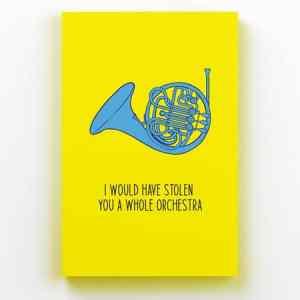 Placa Decorativa de Metal Trompa Azul