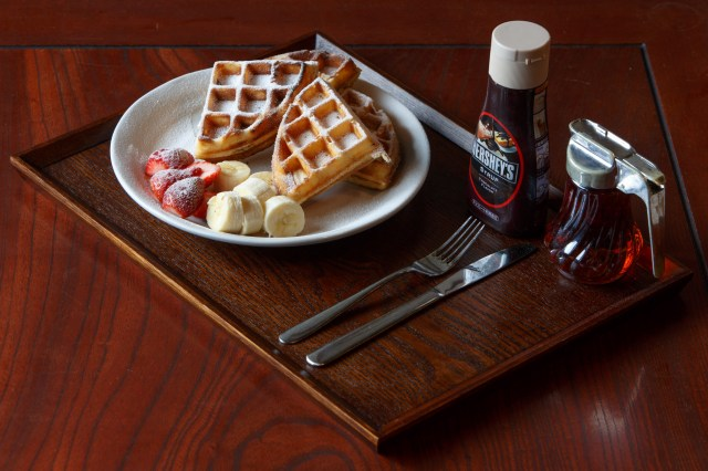 Waffle Breakfast with fruit, and syrups