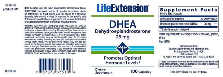 DHEA 25mg life extension