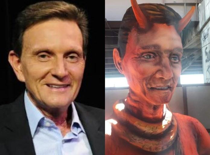 Escola de samba faz escultura de Marcelo Crivella como diabo