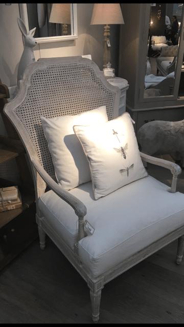 Rattan Back Linen Occasional Chair
