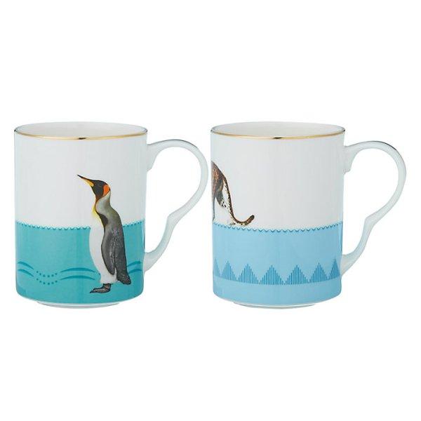 Yvonne Ellen Leopard and Penguins Mugs, Set of 2