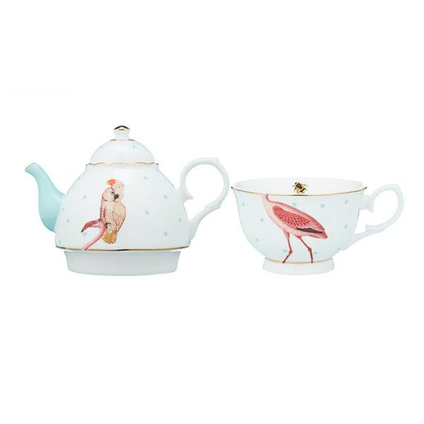 Yvonne Ellen Parrot and Flamingo Tea For One Teapot