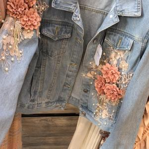 Denim Jacket with Floral Embroidery Detail