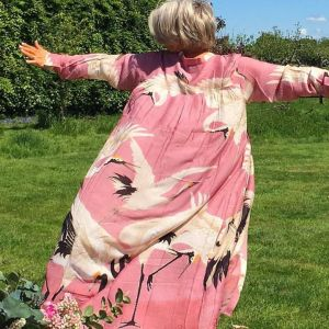 Hand Printed Duster Coat_Pink