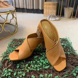 Tan Leather Mule with Block Wooden Heel