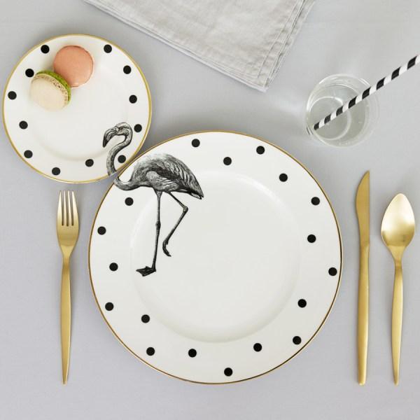 Yvonne Ellen Monochrome Animal Plate Set_Flamingo
