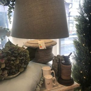 Distressed Stone Effect Lamp with Shade