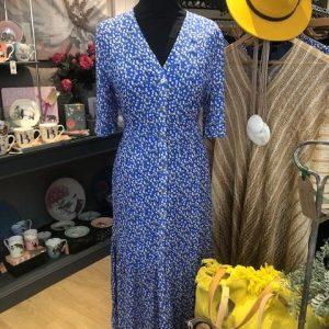 Long Blue Polka Dot Day Dress