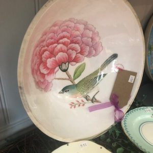 Hand Painted Bird and Floral Plate