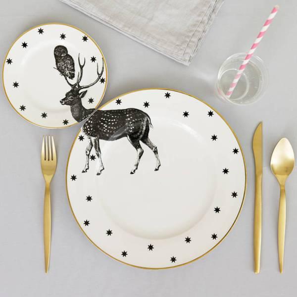 Yvonne Ellen Monochrome Animal Plate Set_Stag