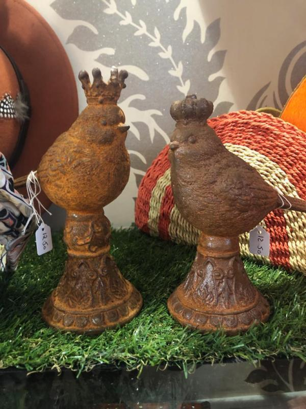 King & Queen Bird Rustic Metal Ornaments