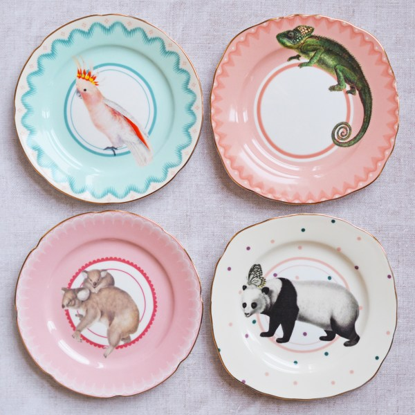 Pretty Pastel Animal Cake Plates Set of 4