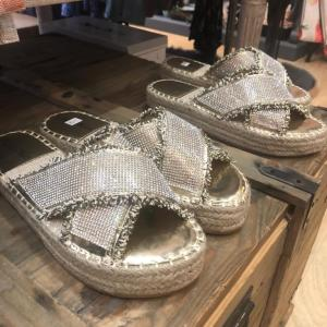 Silver Jewelled Espadrille Sandals