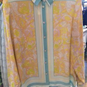 Silk Printed Shirt in Yellow/Blue