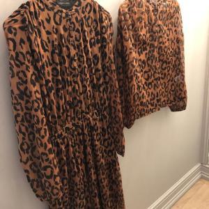Brown Leopard Print Long Sleeve Day Dress
