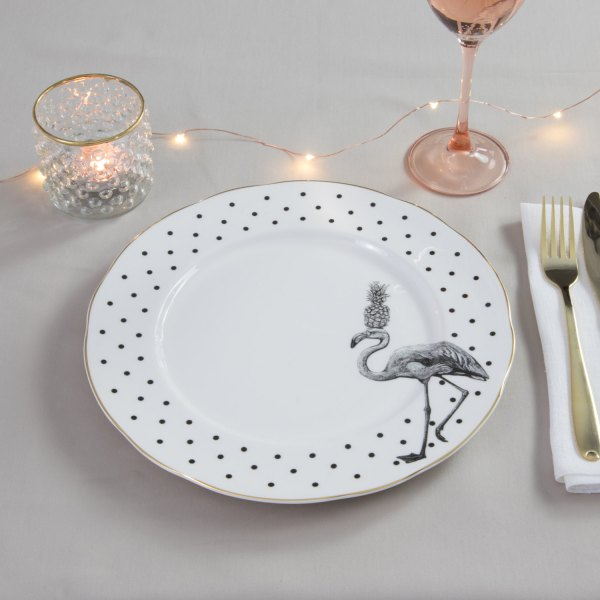 Yvonne Ellen Monochrome Fancy Flamingo Dinner Plate, White/Black