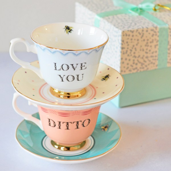 Yvonne Ellen Love You and Ditto Tea Cup & Saucers