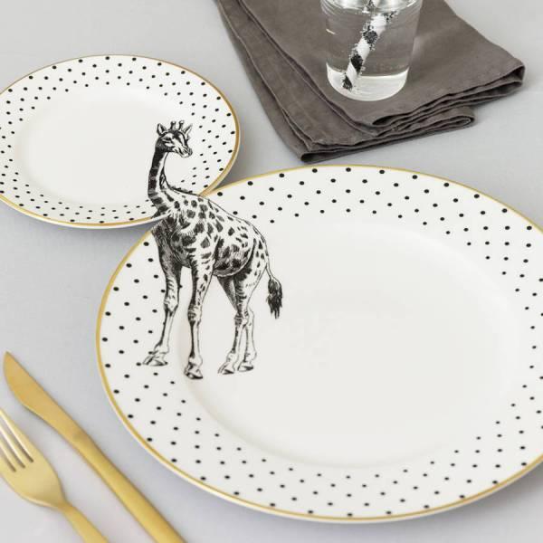 Yvonne Ellen Monochrome Animal Plate Set_Giraffe