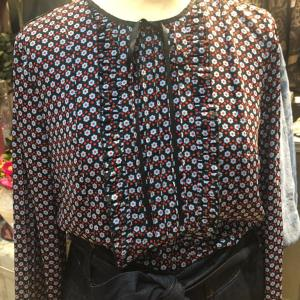Silvian Heath Frilled Front Blouse with Navy & Red Polka Dot Flowers