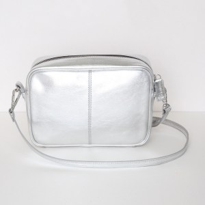 Caroline Gardner Silver Metallic Leather Camera Bag