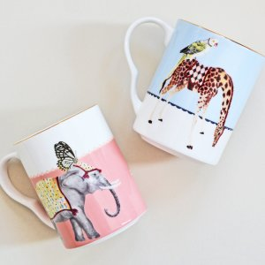 Yvonne Ellen Carnival Elephant and Giraffe Mugs, Set of 2Yvonne Ellen Carnival Elephant and Giraffe Mugs, Set of 2