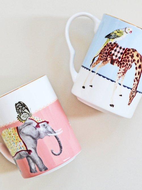 Yvonne Ellen Carnival Elephant and Giraffe Mugs, Set of 2Yvonne Ellen Carnival Elephant and Giraffe Mugs, Set of 2