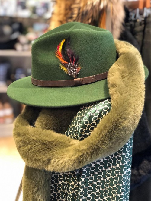 Felt Fedora Hat with Leather Band and Feather Detail
