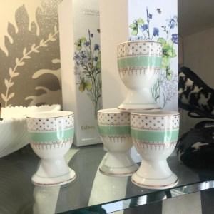 Pretty Green China Egg Cups