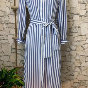 Striped Shirt Dress with Tie Belt in Two Colours