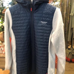Windproof Knitted Jacket in Navy/Off White