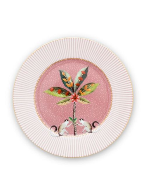 This pink pastry plate is decorated with an exotic palmtree and a two curious monkeys. The stripes on the edge gives the design a suprising combination and a modern twist. Combines beautifully with the rest of our La Majorelle collection.