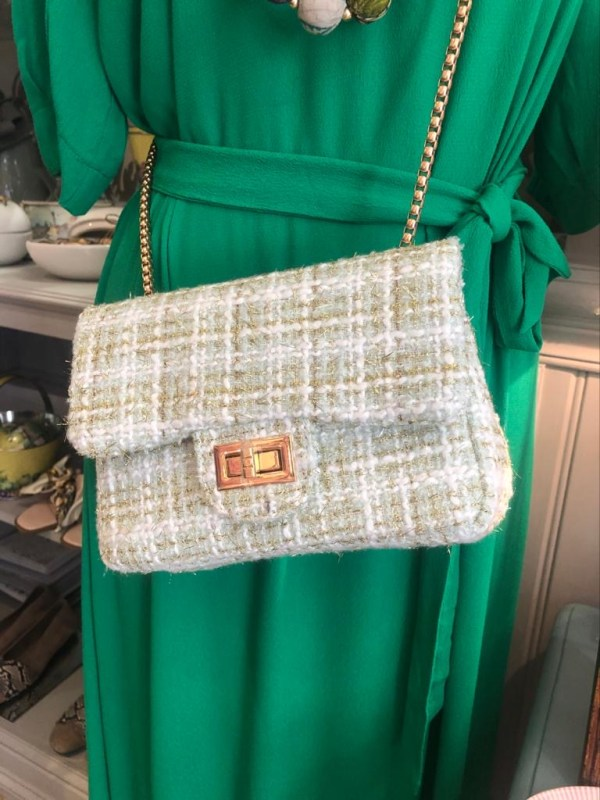 Soft Green Tweed Crossbody Handbag