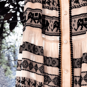 Boho Cotton Skirt in Black & White