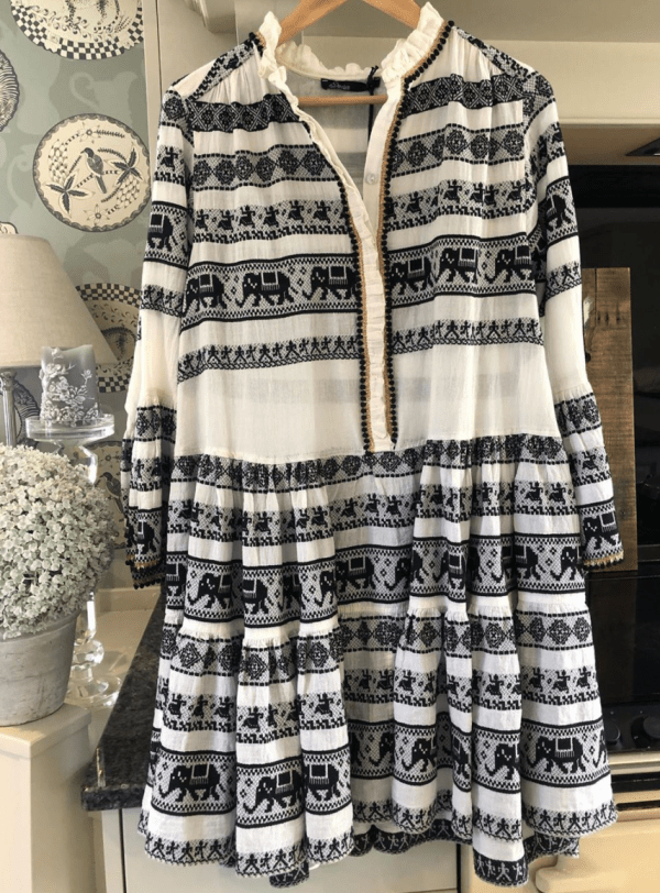 Devotion Boho Dress in Black & White
