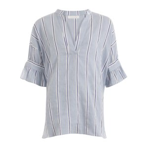 Striped Snow Blue Shirt with Tieband at Sleeves