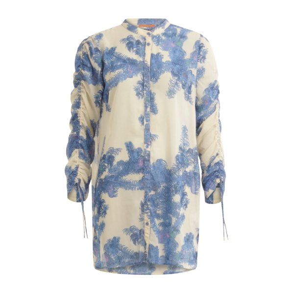 Feather bloom blue shirt with tie strings at sleeves