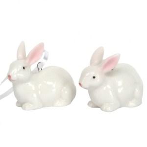 Hanging White China Bunnies