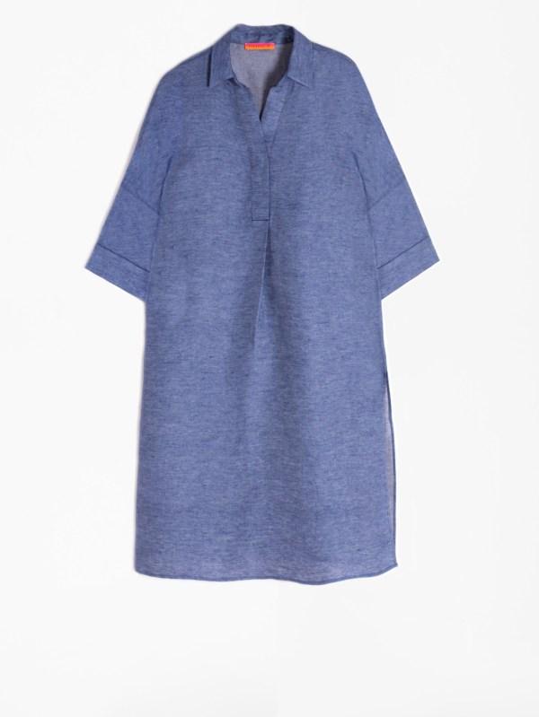 Vilagallo April Mazarine Blue Linen Dress