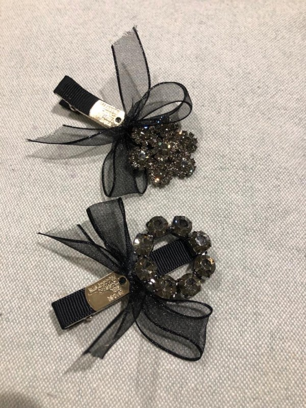Black Ribbon Jewelled Hair Clips