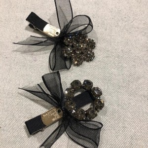 Black Ribbon Jewelled Hair Clips
