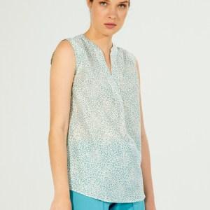 Vilagallo Aqua Leopard Print Shirt