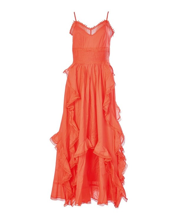 Silvian Heach Flamenco Style Dress with Ruffles in Coral
