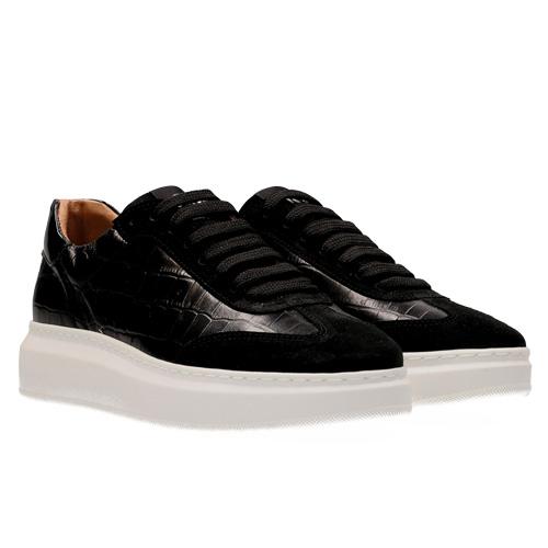 Maruti Leather Black Croco Trainers
